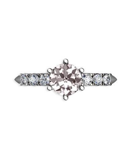 förlovningsring med morganit och diamanter