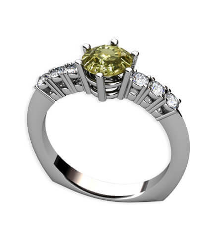 ring i vitguld med gul safir och diamanter