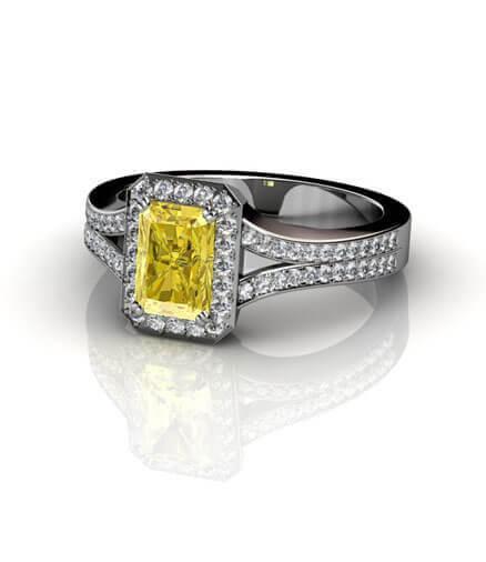 ring med gul diamant