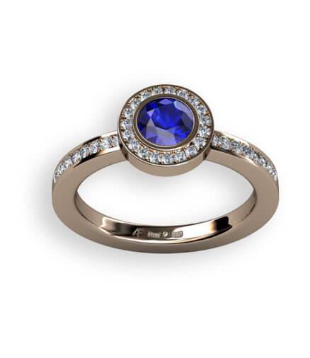 diamantring blå safir