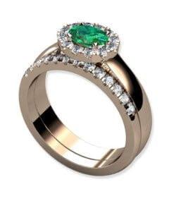 diamantring grön safir