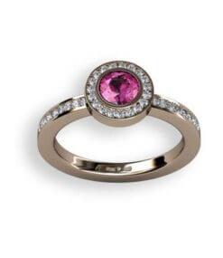 diamantring rosa safir