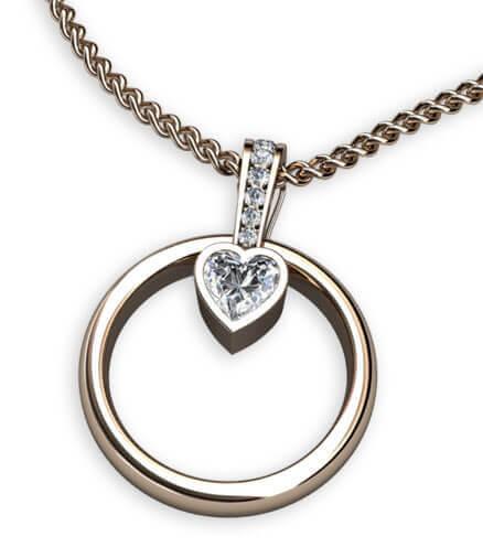ringhängare hjärtslipad diamant
