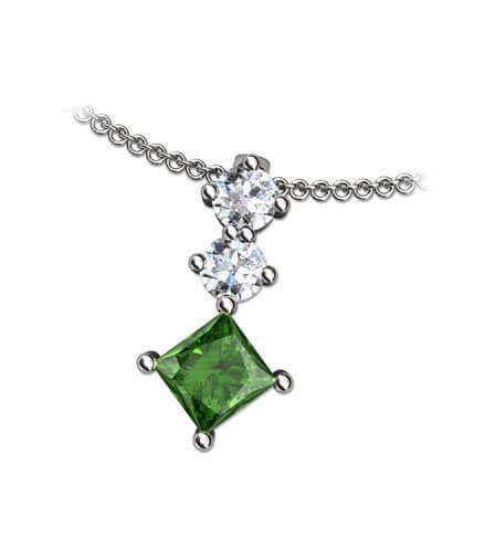 Hängsmycke forrest green diamant