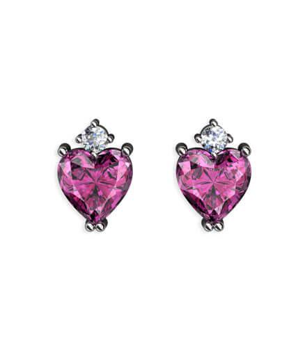 Örhängen hjärtslipade ädelstenar och diamanter