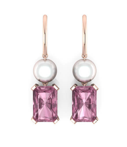 örhängen pärlor rosa ädelstenar