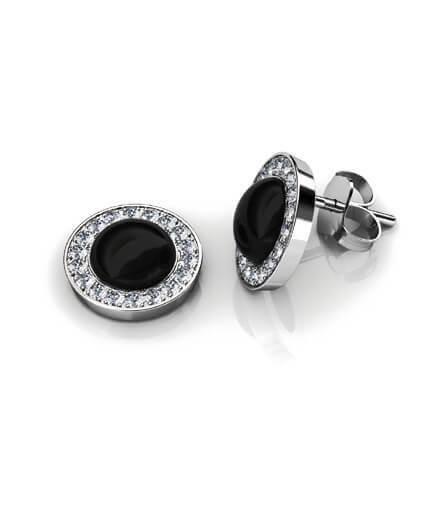 örhängen diamanter och svart onyx