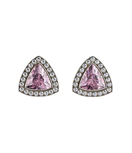 örhängen rosa ädelstenar och diamanter