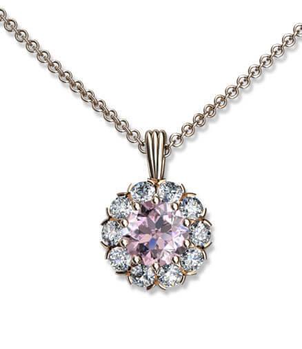 hängsmycke roséguld och diamanter