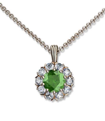 hängsmycke grön peridot och diamanter