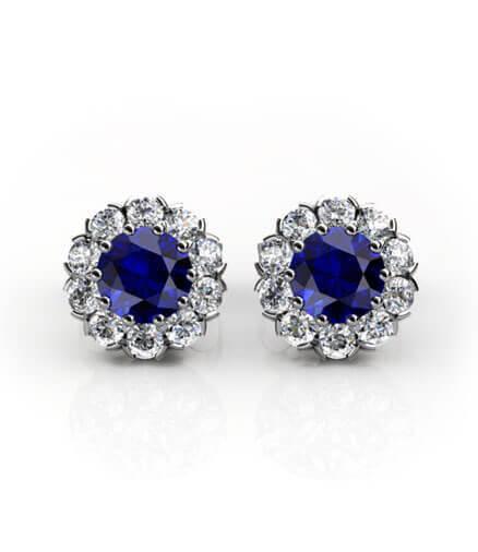 diamantörhängen safirer