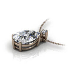 hängsmycke i roséguld med droppslipad diamant