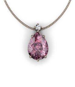 hängsmycke med rosa spinell och diamant