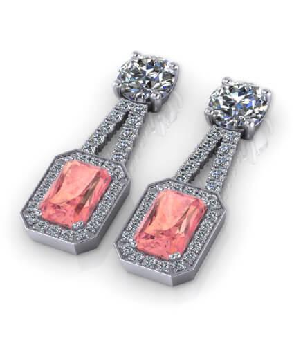 örhängen i vitguld med rosa turmaliner och diamanter