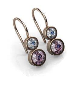 örhängen med diamanter och rosa safirer