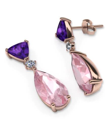 Örhängen i roséguld med morganiter och diamanter