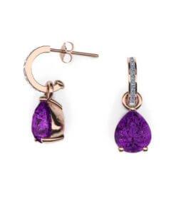 örhängen med diamanter och ametister