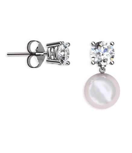 diamantörhängen med pärlpåhängen
