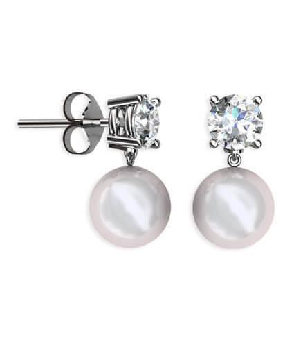 diamantörhängen med pärlor