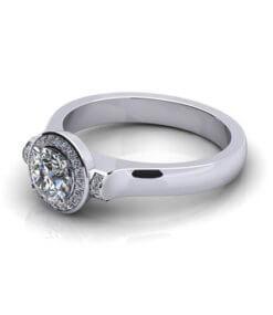 Vigselring i platina med diamanter