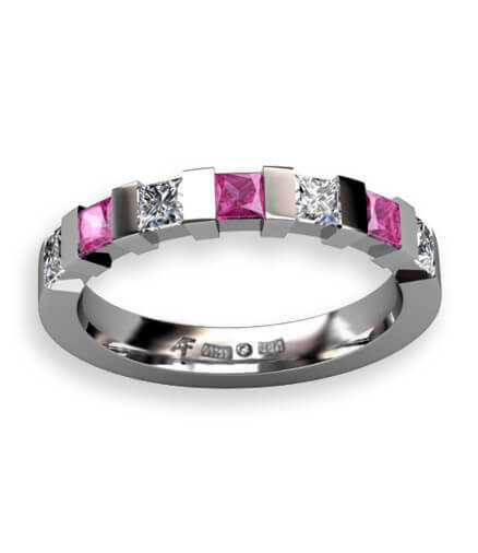 alliansring diamanter och rosa safirer