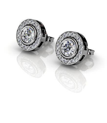 diamantörhängen i halomodell