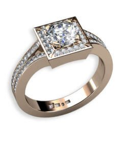Diamantring i roséguld