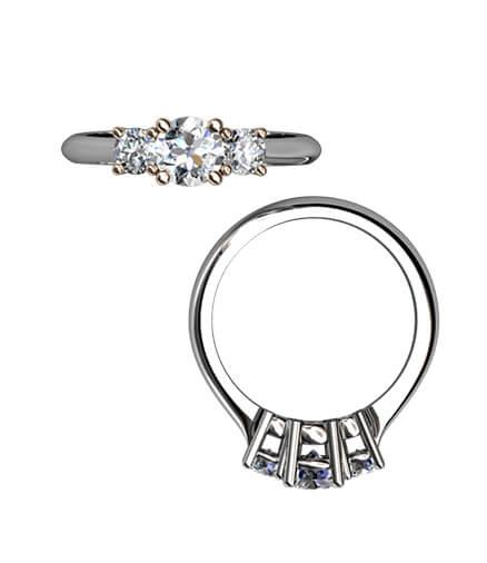 trestensringar med briljantslipade diamanter
