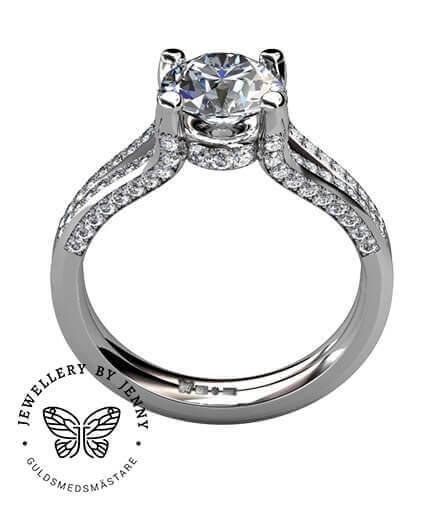 diamantring i vitguld