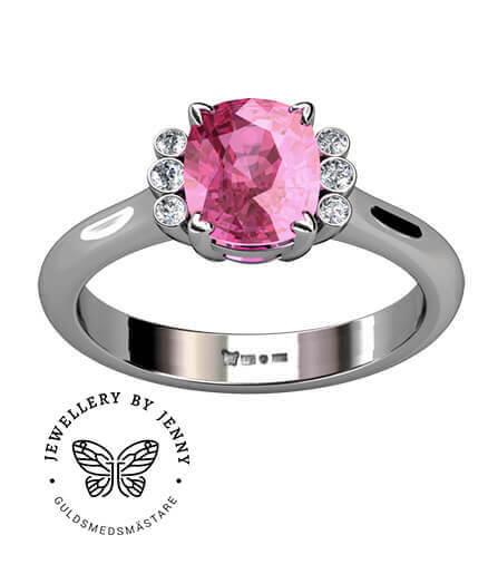 vigselring med rosa sten