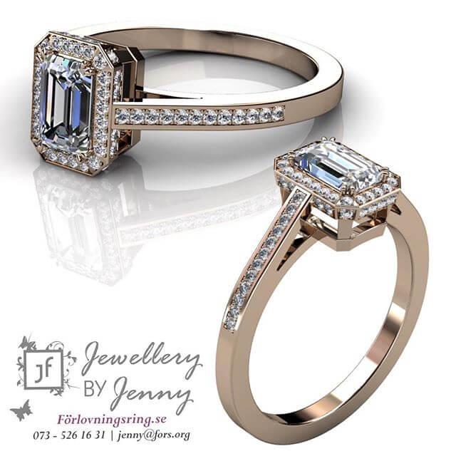 Ring med smaragslipad diamant