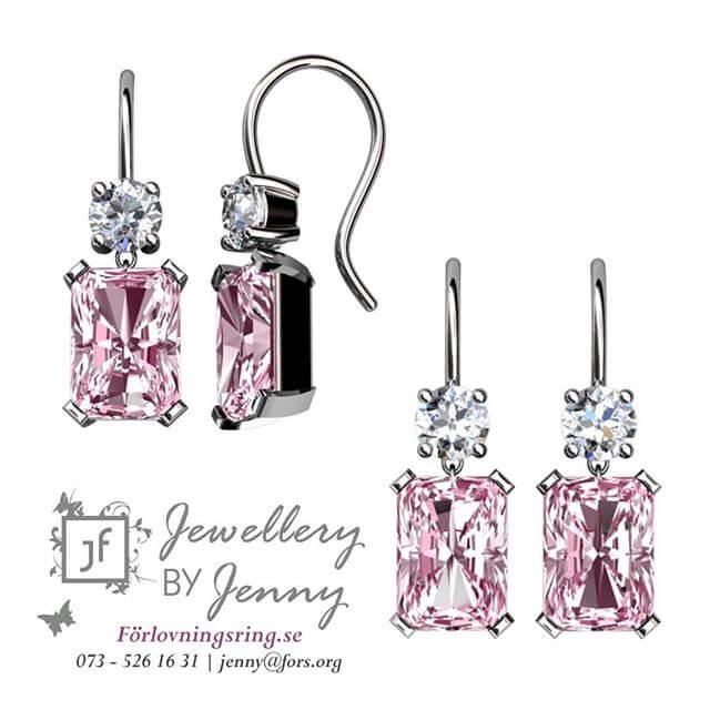 örhängen med morganiter och diamanter