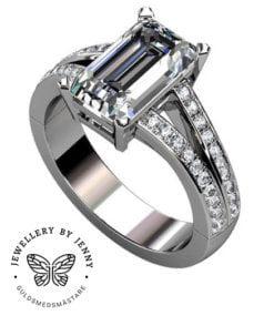 diamantring med delad skena
