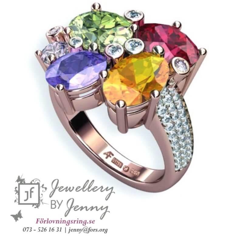 designa egen ring färgstenar